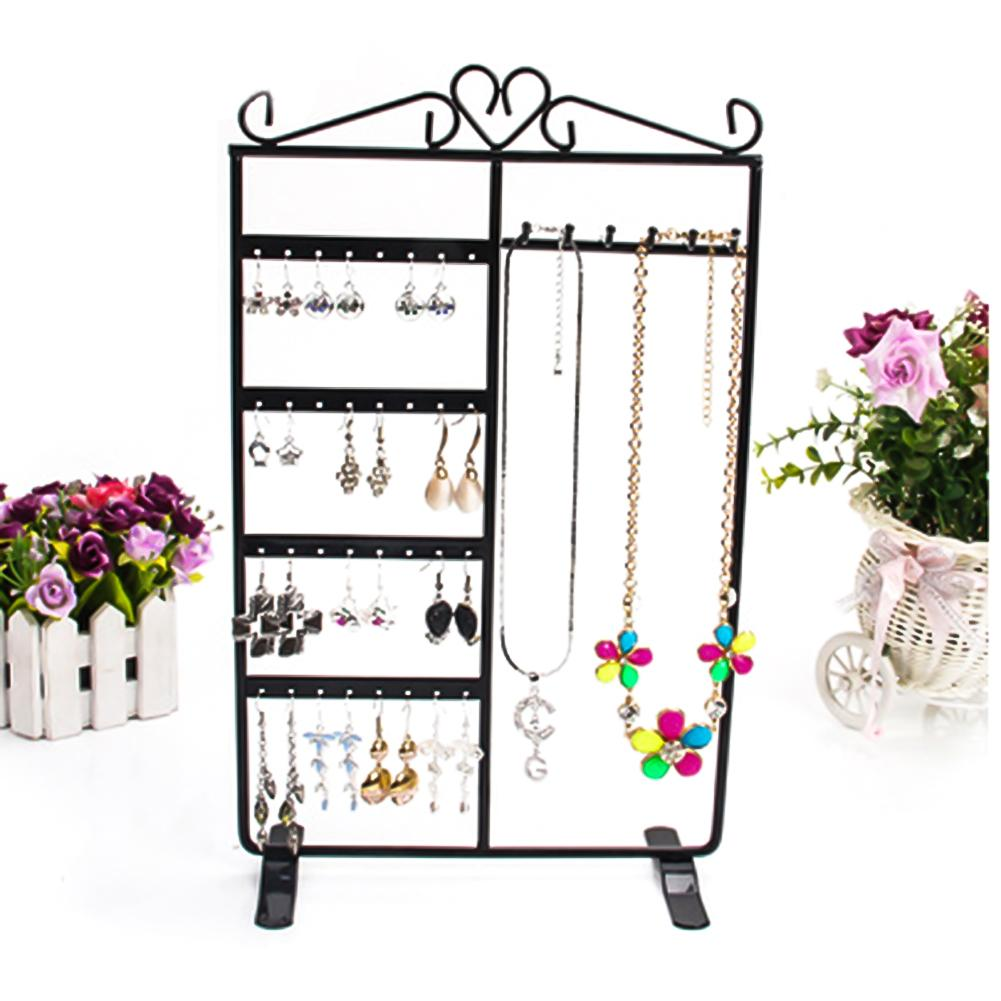 4 Tiers 32 Holes 6 Hooks Necklace Display Rack Chain Hang Stand Earrings/Ear Studs Show Rack Jewelry Holder Organizer Jewelry