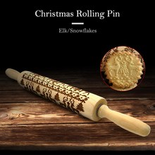 Christmas Rolling Pin Engraved Elk Snowflakes Wooden Rolling Pin Embossed Baking Cookies Creative Carving Wood Kitchen Tools heart rolling pin