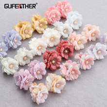 Jewelry-Accessories Diy Earrings Flower-Shape Pearl Plastic Gold-Plated F156 Hand-Made