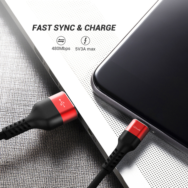 QGEEM USB Type C Cable USB-C Mobile Phone Fast Charging USB Charger Cable for Samsung Galaxy S9 Huawei Mate 20 Xiaomi USB Type-C