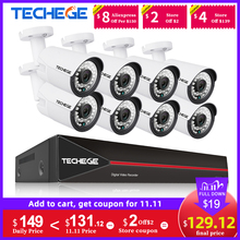 Techege H.265 8CH POE System 2.0MP Audio IP Camera Metal Outdoor Waterproof Network Camera CCTV Security System Surveillance Kit