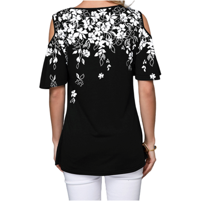 Novedad de 2020, Camiseta holgada de verano para mujer, pantalón corto informal de manga corta, camisetas Sexy sin hombros con estampado de cuello redondo, camiseta Vintage de talla grande S-5XL 4