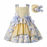 Pettigirl-vestido de Pascua para bebé, vestido de princesa de flores para boda para niño, Boutique amarilla, vestido de cumpleaños para niña