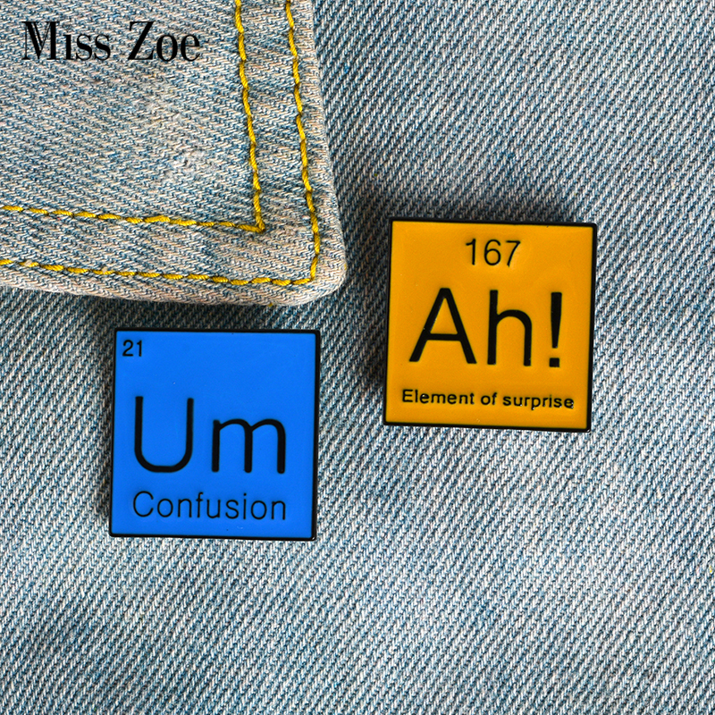 Periodic Table Enamel Pin Ah! Um Brooches Bag Clothes Lapel Pin Modal Particle Badge Funny Jewelry Gift For Chemistry Friends