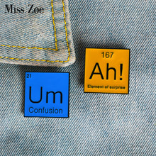Periodic Table Enamel Pin Ah! Um Brooches Bag Clothes Lapel Pin Modal Particle Badge Funny Jewelry Gift for Chemistry Friends(China)