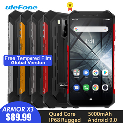 Перейти на Алиэкспресс и купить ulefone armor x3 rugged smartphone ip68/ip69k android 9.0 5.5дюйм. 18:9 2gb 32gb 5000mah face unlock rugged cell phone mobile phone