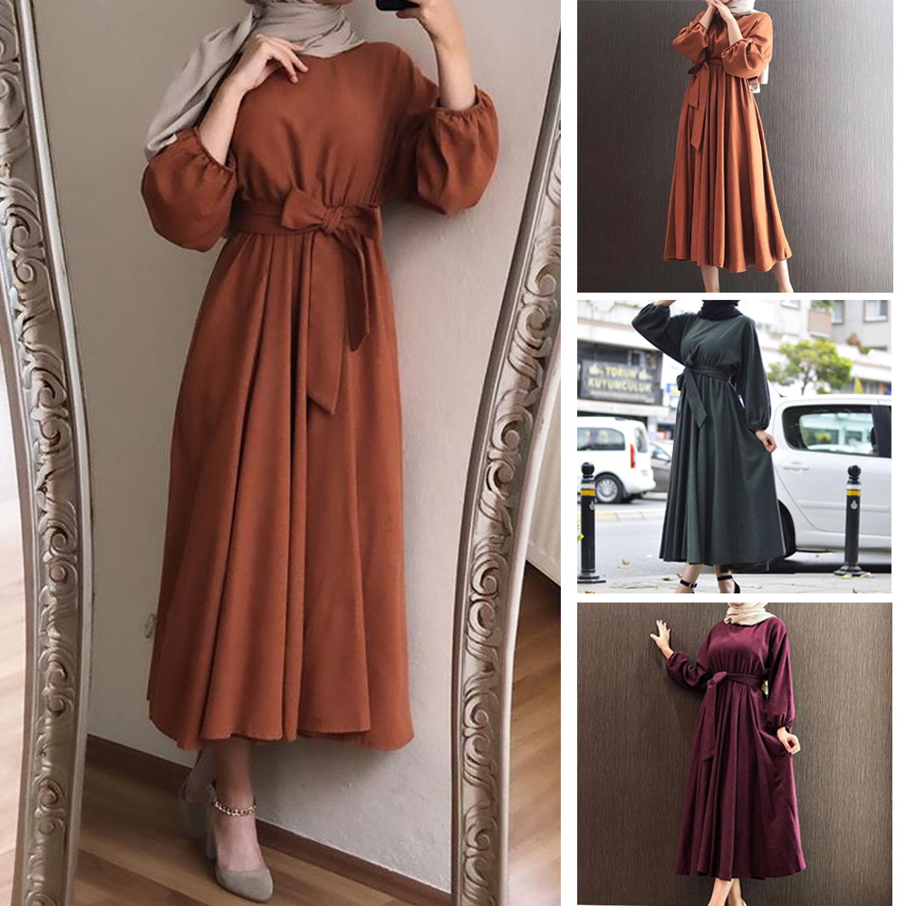 Ladies Kaftan Dubai Plain Abaya Hijab Muslim Dress Caftan Qatar Omani Islamic Clothing African Saudi Turkish Dresses For Women