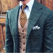 Зеленый твидовый мужской костюм на заказ Коричневый Мужской s твидовый костюм под заказ однобортный мужской костюм с отворотом(куртка+ брюки+ жилет