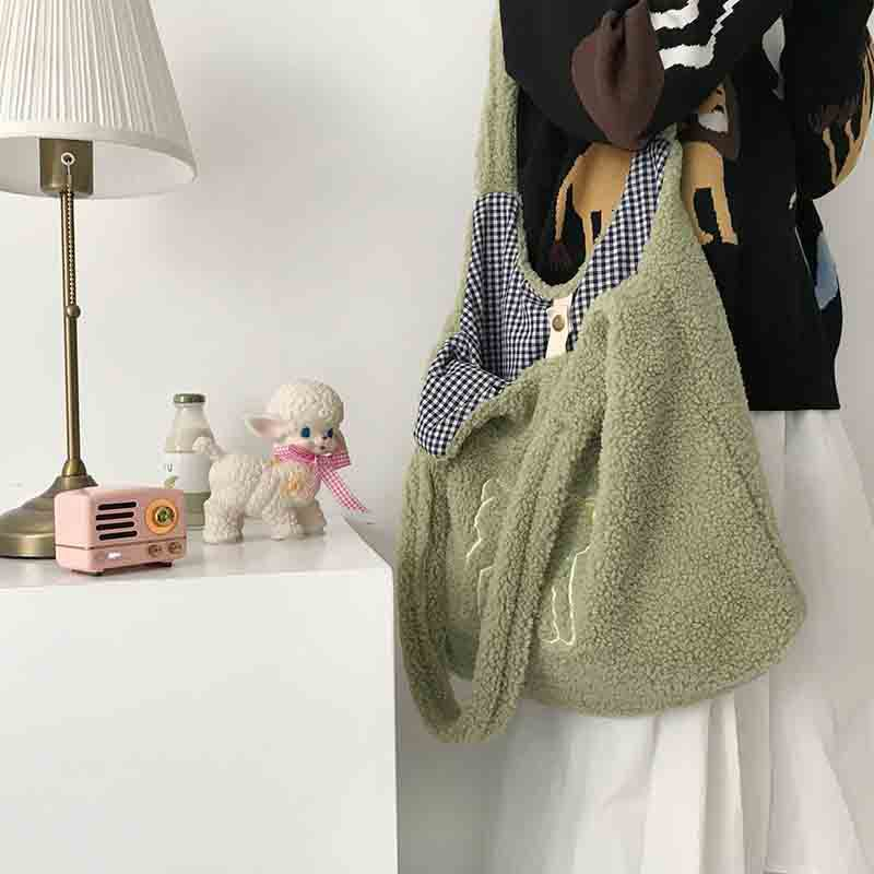 Women Lamb Like Fabric Shoulder Bag Simple Canvas Handbag Tote Large Capacity Embroidery Shopping Bag Cute Book Bags For Girls 5