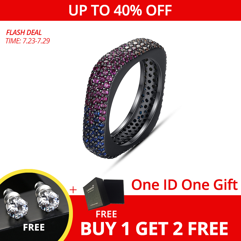 LUOTEEMI панк стиль черный квадрат кольца для женщин или мужчин с микро многоцветный кубический цирконий хип-хоп крутые модные украшения