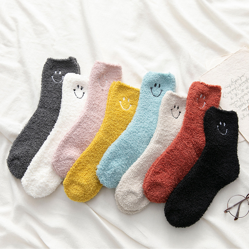 Candy Color Solid Soft Women Fluffy Socks Coral Velvet Winter Warm Home Indoor Floor Girls Terry Towel Fuzzy Socks 1 Pair