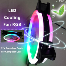120mm LED Cooling Fan 12V 4Pin to 3Pin RGB Ultra Quiet Computer PC CPU Cooler NC99 цена