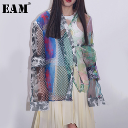 Женская блузка EAM, с принтом и длинным рукавом, с треугольным вырезом, весенне-осенняя, 2020
