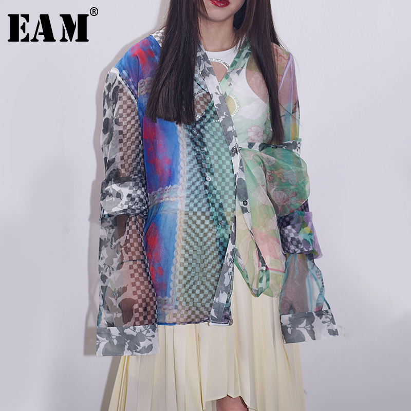 [EAM] Women Pattern Print Perspective Blouse New V-collar Long Sleeve Loose Fit Shirt Fashion Tide Spring Autumn 2020 1S118