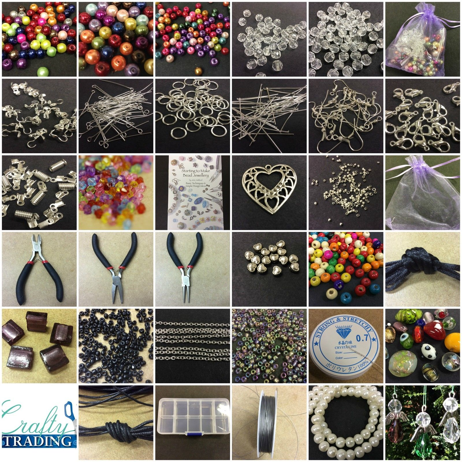 Large Jewellery Making Starter Kit 800+ Beads Tools,Findings,Box FREE ANGEL KIT Jewelry Making Up Accessories  Lobster Clasp