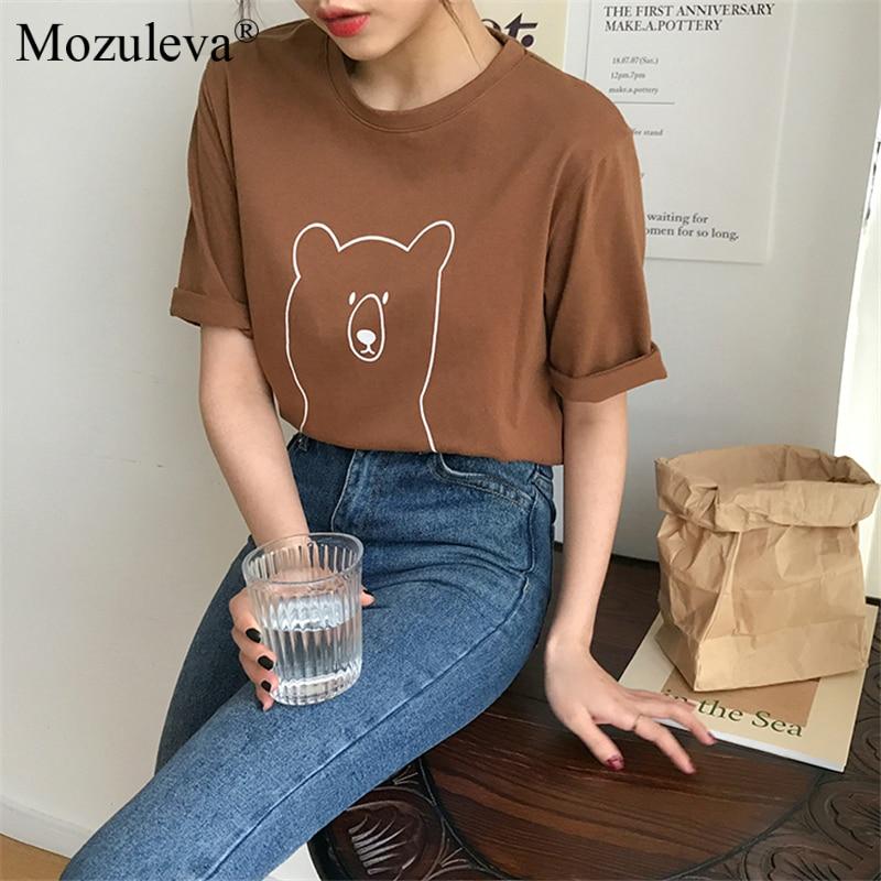 Heca1071b67aa4689b9ab2c9cd7a8dee0k Mozuleva 2020 Chic Cartoon Bear Cotton Women T-shirt Summer Short Sleeve Female T Shirt Spring White O-neck Tees 100% Cotton