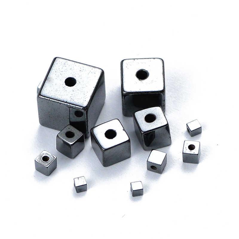 BTFBES natürliche stein Schwarz Hämatit cube platz Charm Lose Spacer Perlen Für Schmuck Armband Halskette, Die DIY 2/3 /4/6/8/10mm