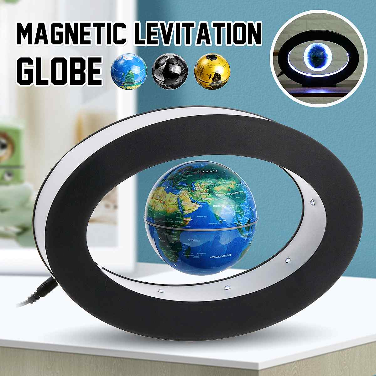 LED World Map Magnetic Levitation Floating Globe Desktop Antigravity Lamp Novelty Ball Night Light Lamp Office Home Decoration