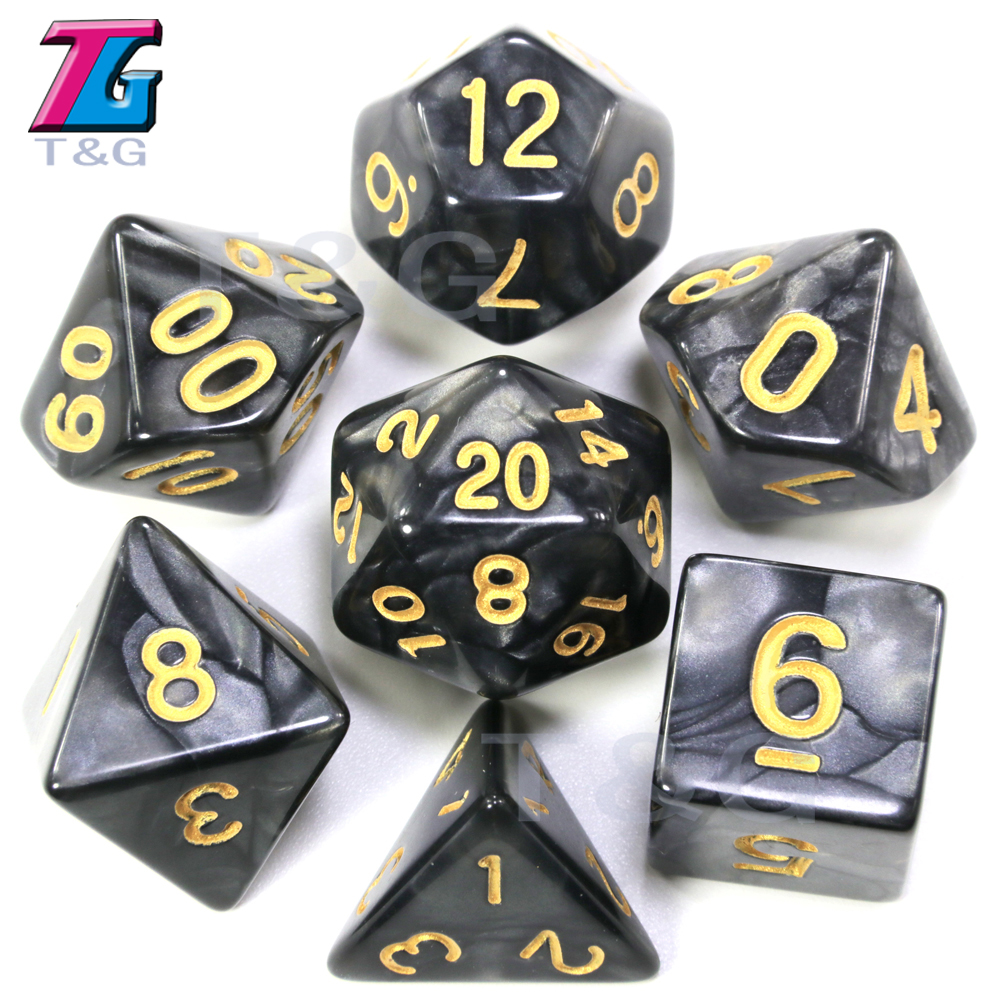 New Gold Ink D&D Dice  Marbled Effect D4 D6 D8 D10 D10% D12 D20 7PCS/set White Red Black Green Purple Blue 6 Colors