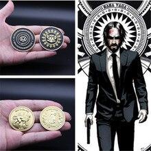 Réplica de moneda de oro para colección de Hotel, accesorio de Cosplay, insignia, John Wick