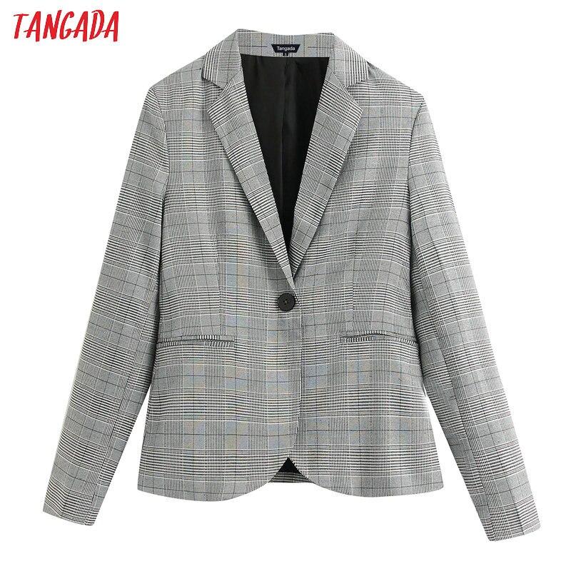 Tangada Women Vintage Plaid Pattern Blazer One Button Long Sleeve Elegant Jacket Ladies Work Wear Blazer Suits BE152