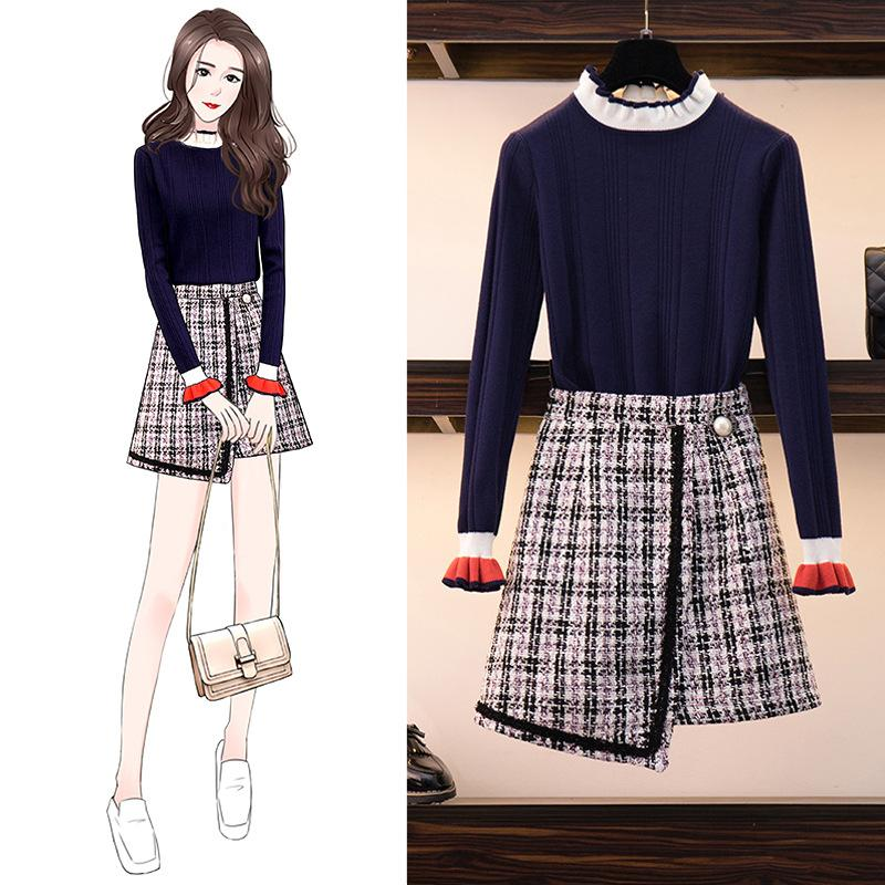 ICHOIX Cute Girl 2 Piece Skirt Set Knitted Sweater Two Piece Set Women Korean Style Outfits 2019 Winter Set 2pcs Clothing