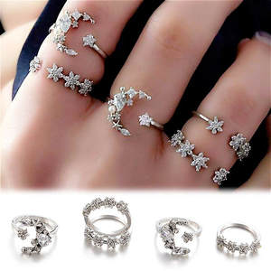 Ring-Set Knuckle-Rings Flower Geometric Crystal Starry Night-Shining Bohemian Vintage