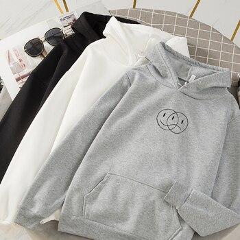 Korean Streetwear Sweatshirt Men Women Casual Pullover Hip Hop Long Sleeve Smile Sad Face Line Print Hoodies Sportswear Tops 4