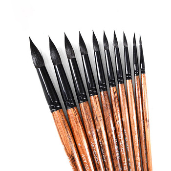 Squirrel Hair Pointed Painting Brush Set Professional Artistic Watercolor Brushes For Gouache Wash Mop Students Art Supplies