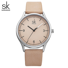 Shengke Top Brand Quartz Watch Women Casual Fashion Japan Movement Leather Analog Wrist Watch Minimalist Designer Relogio Gift