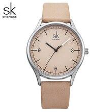 Shengke üst marka Quartz saat kadınlar Casual moda japonya hareketi deri Analog kol saati Minimalist tasarımcı Relogio hediye