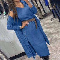 Winter Fall 2019 Knitted 2 Piece Set Casual Women Outfits Sweater Dress And Long Sleeve Cardigan Eleagnt Sweater Set