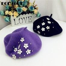 Wool Hat Painter-Cap Casquette Flower Beret Octagonal Girls