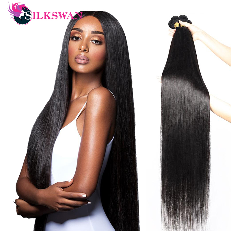Silkswan-extensiones de cabello humano liso, trama de cabello largo de 34, 36, 38 y 40 pulgadas, Remy brasileño, 1/3/4 piezas