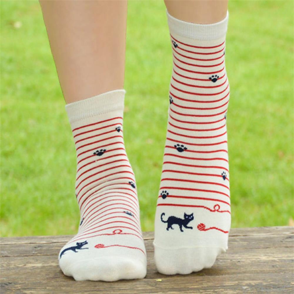 PLUFR-5 Women Good Black White     Short Socks   Navy Cotton Print