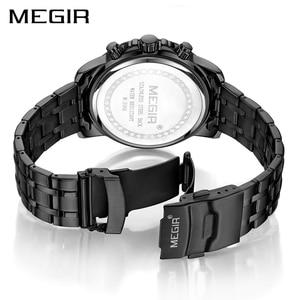 Image 3 - MEGIR Black Stainless Steel Mens Watches Top Brand Luxury Luminous Waterproof Quartz Watch Man Relogio Masculino Dropshipping