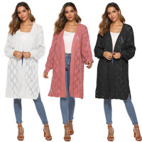 H80&S90 Women Cardigan Sweater Solid Color Thickened Female Sweater Mid Long Loose Long Sleeve Knitted Rhombic Hollow Out Cloth