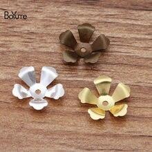 Boyute diy jóias acessórios 200 pces 14mm carimbar latão flor grânulo tampões flutuante encantos