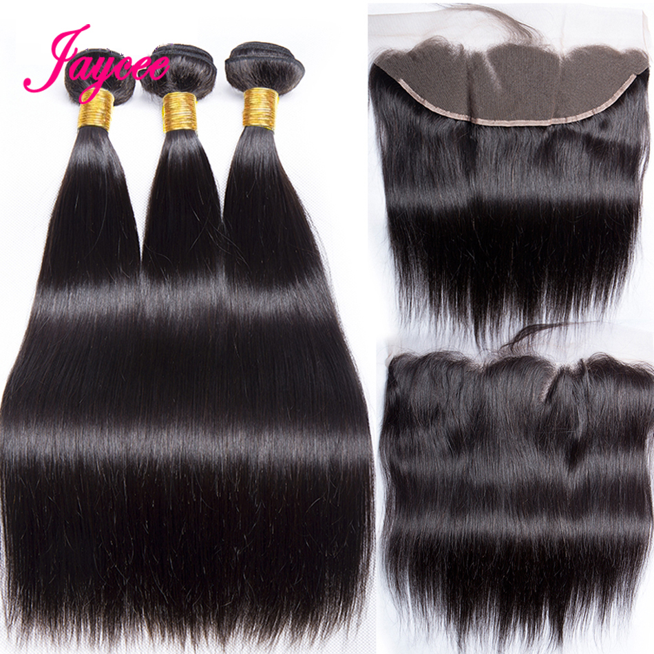 Jaycee перуанские прямые пучки волос с фронтальной и пряди 3 пряди с фронтальной 100% Реми человеческие пучки волос с фронтальной