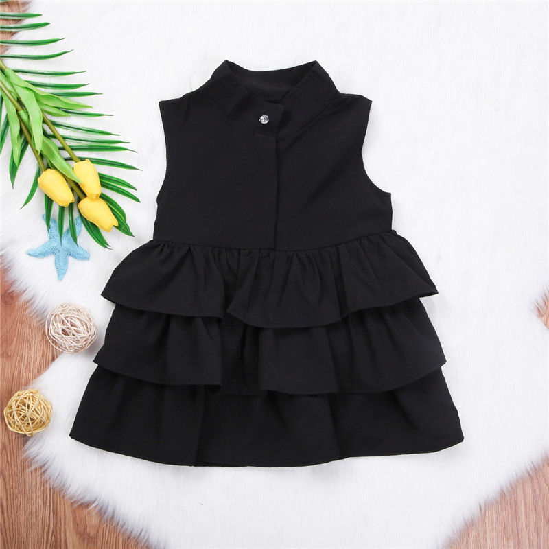 Summer Cute Black Green Ball Gown Girls Dresses Kid Girl Party Dress Sleeveless O Neck Cake Ruffled Tutu Bubble Dress 2-6T 2