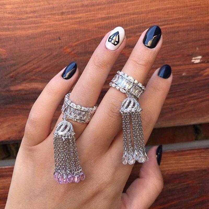 Серебро 925 пробы Кольцо Кисточки багетное для женщин с Белый Розовый Синий Зеленый кристалльное кисточки ювелирные изделия с камнями для св