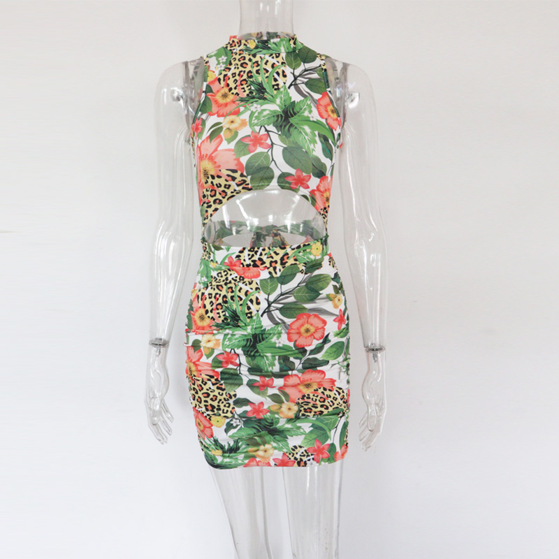 Beyprern Casual Leopard Print Patchwork Flower Mini Dress With Mask Womens Backless Hollow Out Bodycon Bandage Party Club Dress