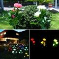 Садовый Искусственный Розовый Светодиодный светильник на солнечной батарее  светильник с 3 розами  уличный солнечный светильник  садовый д...