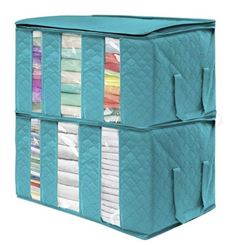 Clothing Organizer Storage Bag Folding Non Woven Clear Window Clothes Blanket Quilt Closet Organizer Boxes 2019 new non woven clothes storage bag wardrobe closet organizer folding garment quilt storage bag for bedding blanket pillow