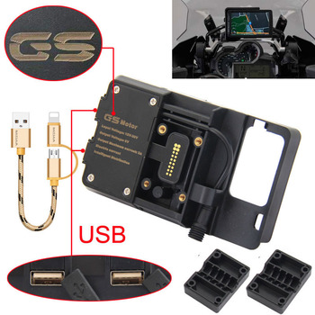 For BMW R1200GS Mobile Phone Navigation Bracket ADV F700 800GS CRF1000L Africa Twin For Honda Motorcycle USB Charging 12MM Mount for bmw r1200gs f700gs f800gs r1250gs adv carbon fiber mobile phone navigation bracket africa twin motorcycle usb charging mount