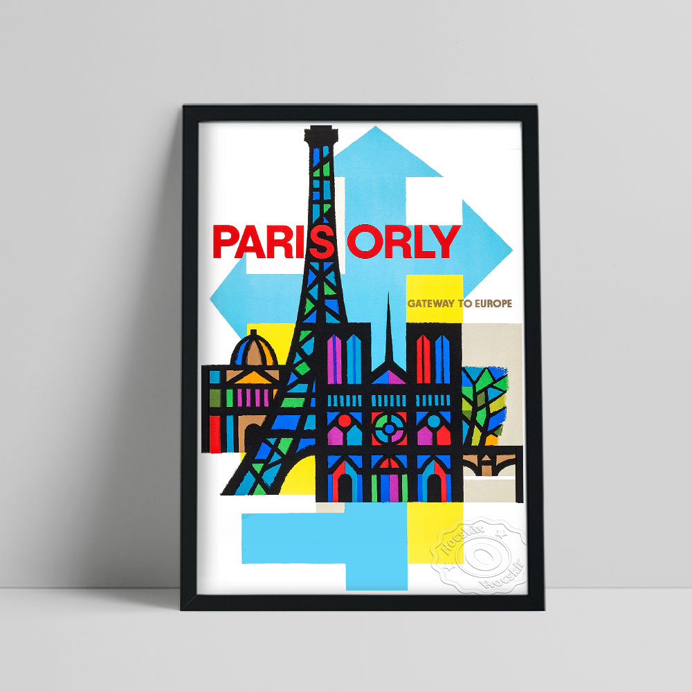 World Airline Travel Poster, Paris Orly Abstract Building Colored Canvas Painting, Orly Tour Gift Vintage Art Home Wall Decor