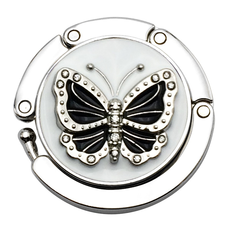 Metal Round Butterfly Pattern Folding Handbag Hanger Purse Table Desk Hook Storage Holder New