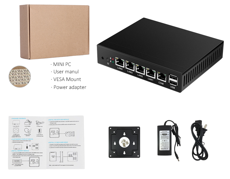 4 Gigabit Lan Win7 Vga Firewall Router Fanless J1900 Pfense Quad Core Industrial Computer Mini PC