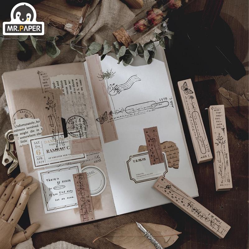 Mr.Paper 8 Designs Forest Promenade Wooden Rubber Stamp for Scrapbooking Decoration Planner DIY Craft Escolar Standard Size Seal 5
