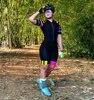 2021 pro equipe triathlon conjunto camisa de ciclismo das mulheres uma peça macacão manga curta macaquinho feminino conjunto almofada gel novo 21
